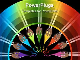 Nine brushes with paint color tips toward the center, forming a semicircle powerpoint design layout