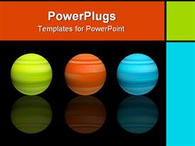 PowerPoint template displaying green orange and blue spheres with reflection in the background.
