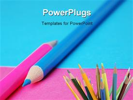 PowerPoint template displaying los of color pencils on a blue and pink background