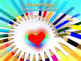 PowerPoint template displaying color pencils around heart. 3D on white