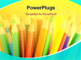 PowerPoint template displaying color pencils in creativity concept