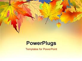 PowerPoint template displaying colorful autumn leaves background