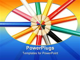 PowerPoint template displaying set of color pencils
