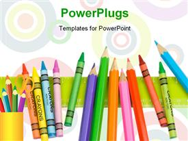 PowerPoint template displaying bunch of crayons, some colored pencils and a ruler make a nice edge or border design for your back in the background.