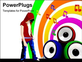 PowerPoint template displaying music symbols and three colorful speakers and man on music themed background