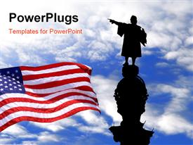 PowerPoint template displaying silhouette of Christopher Columbus statue with the American flag over blue sky