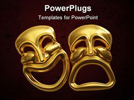 PowerPoint template displaying two large yellow colored 3D images smiling and frowning