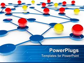PowerPoint template displaying red and yellow balls on blue platforms connected by blue lines