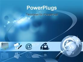 Blue conceptual background for communication business. Mail telephone write and computer powerpoint design layout