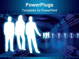 PowerPoint template displaying three white graphical human figures on a blue background