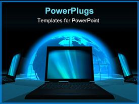 Communication concept of blue glowing Earth with laptops around presentation background