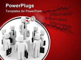 PowerPoint template displaying lots of white human figures talking on a red background