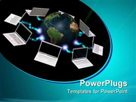PowerPoint template displaying laptops surrounding world, IT, networking communications