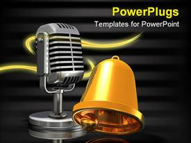 PowerPoint template displaying gold bell placed in front of a large silver microphone in the background.