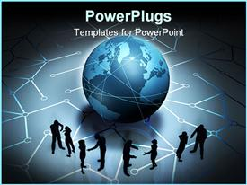 Graphic work about internet, communication, network powerpoint theme