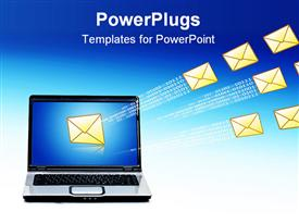 Laptop and email over blue sky. Communication concept powerpoint design layout
