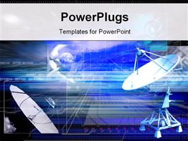 Parabolic aerial of space communication on a dark blue background powerpoint template