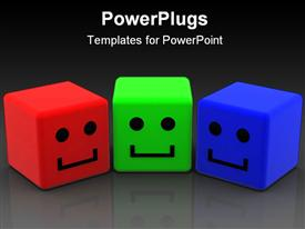 PowerPoint template displaying a collection of three dimensional smileys