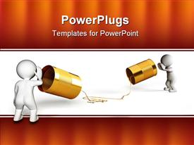 PowerPoint template displaying two people showing an old school of communication