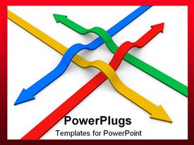 PowerPoint template displaying communication concept: crossing of four color arrows with different directions