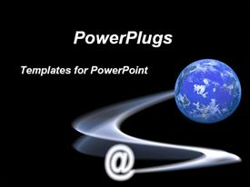 PowerPoint template displaying mail sign with computer generated planet. Concepts of speedy communications, internet communication in the background.