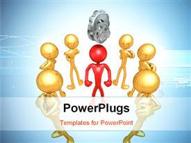 PowerPoint template displaying human character in red at the center with gears on top and golden characters around him