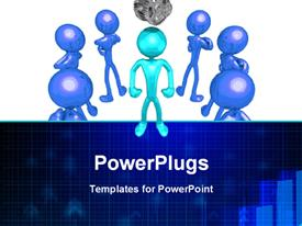 PowerPoint template displaying healthy 3D man surrounded by ugly looking ones on white background