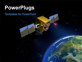 Communication satellite and planet earth. CG powerpoint theme