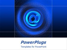 PowerPoint template displaying blue email sign surrounded with gradients of blue