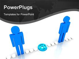PowerPoint template displaying internet network in which people transfer the message in the background.