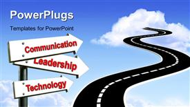 PowerPoint template displaying road sign leading to communication Leadership and technology over blue sky