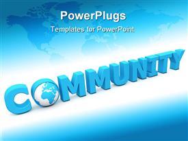 Blue word community - letter o added by a globe presentation background
