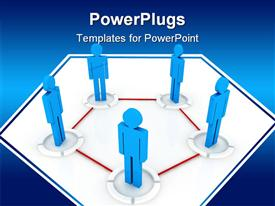 PowerPoint template displaying communications diagram with blue people connected by red pentagon, business, human resources, networking