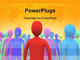 PowerPoint template displaying colored 3D people over world map depicting different races