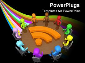 PowerPoint template displaying a number of people on a round table with a wifi sign