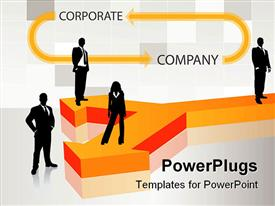 PowerPoint template displaying a number of people with white background and place for text