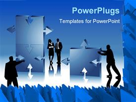 PowerPoint template displaying silhouettes of business men and women assembling puzzle pieces