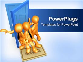 PowerPoint template displaying three gold figures in black neck ties trying to pass through blue doorway at same time