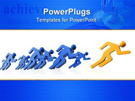 PowerPoint template displaying athlete icons running. Competition concept
