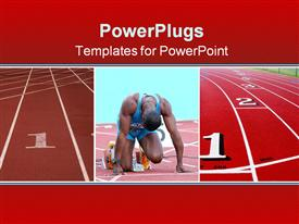 PowerPoint template displaying competition metaphor with man preparing to run track race