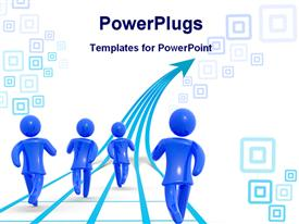 Blue figures runs forwards, concept of growth competition and success template for powerpoint