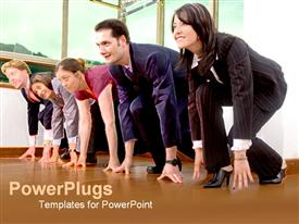 PowerPoint template displaying business men and women racing on a track as a metaphor suits