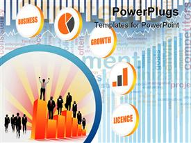 PowerPoint template displaying circular tiles showing people standing on a bar chart with different business texts