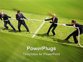 PowerPoint template displaying businessmen and businesswomen playing tug of war