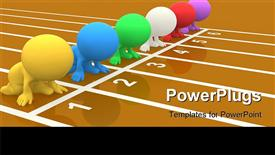 PowerPoint template displaying colorful 3D people set on your marks ready to race