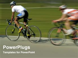 PowerPoint template displaying two humans riding a bicycle in full speed beside a field