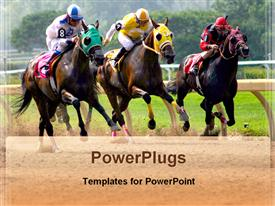 Competition of horse racing powerpoint theme