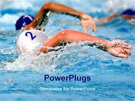 PowerPoint template displaying competition in water game