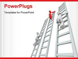 PowerPoint template displaying a number of figures on various ladders