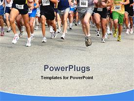 Group of people running in a competition powerpoint theme